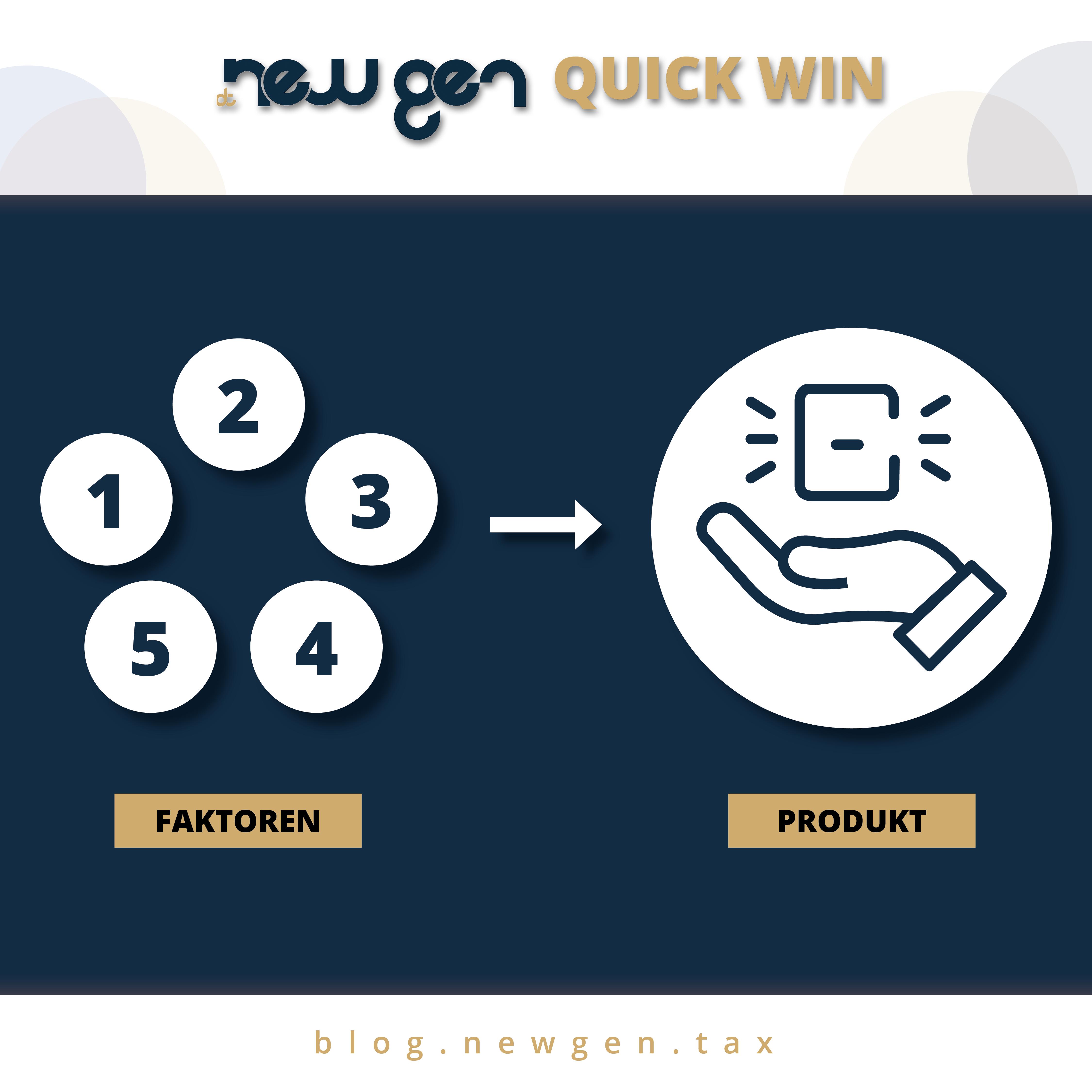 new gen Quick Win: Leistungen in Produkte aufteilen