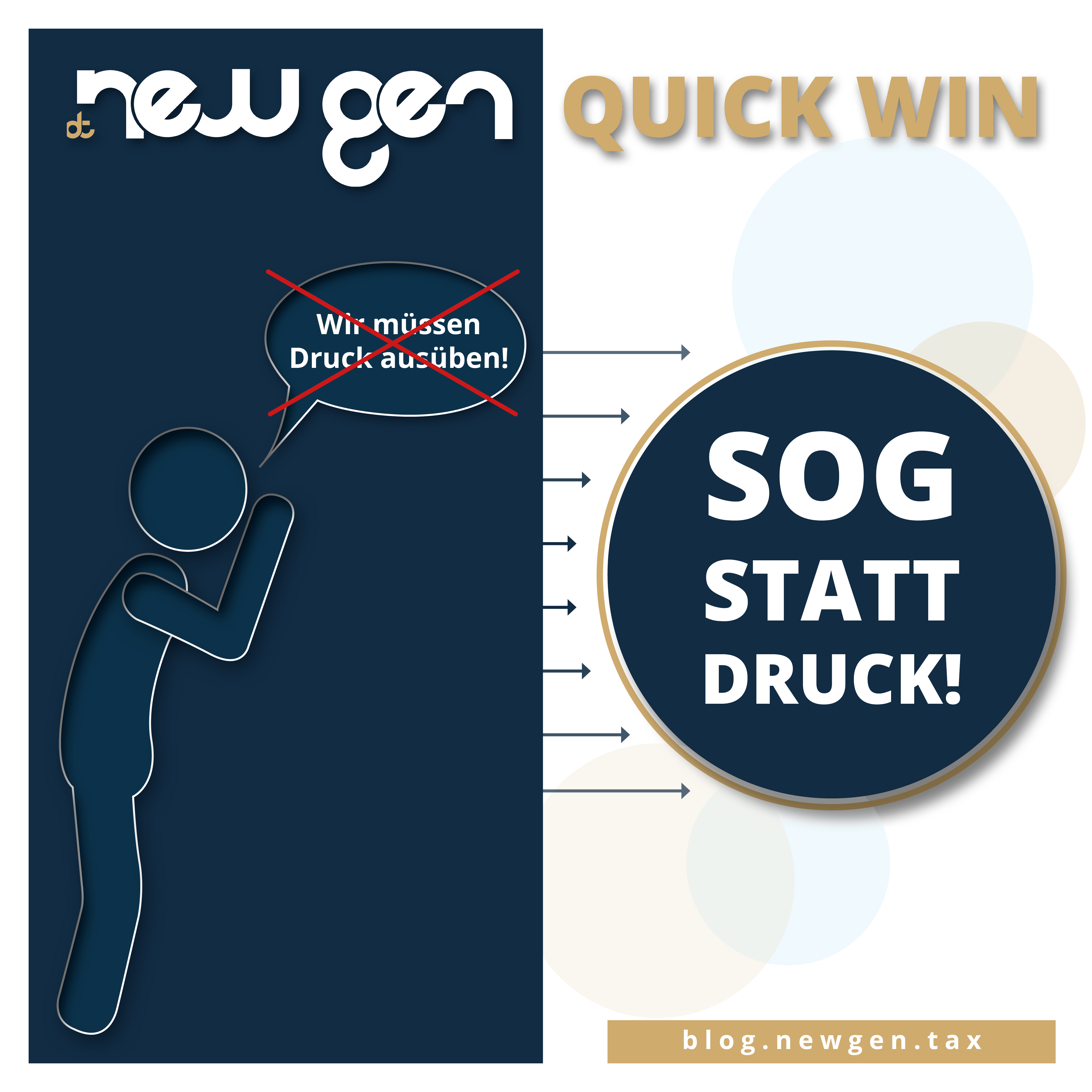 new gen Quick Win - Sog statt Druck
